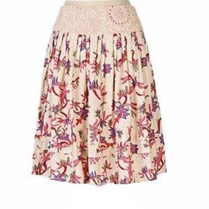 Anthropologie Viola Palmetto Embroidered Skirt